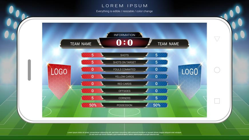 Soccer football mobile live, Scoreboard team A vs team B and global stats broadcast graphic soccer template. vector