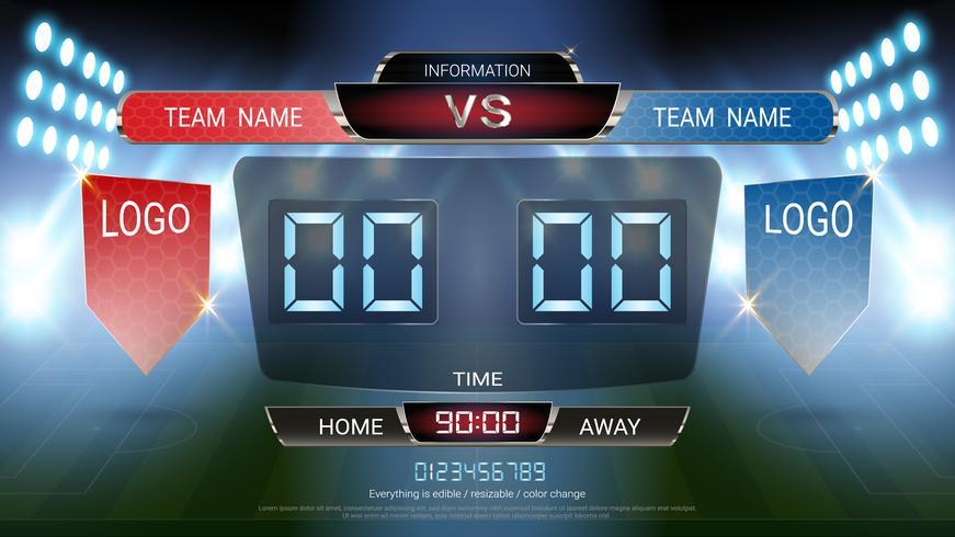 Digital timing scoreboard, Football match team A vs team B, Strategy broadcast graphic template. vector