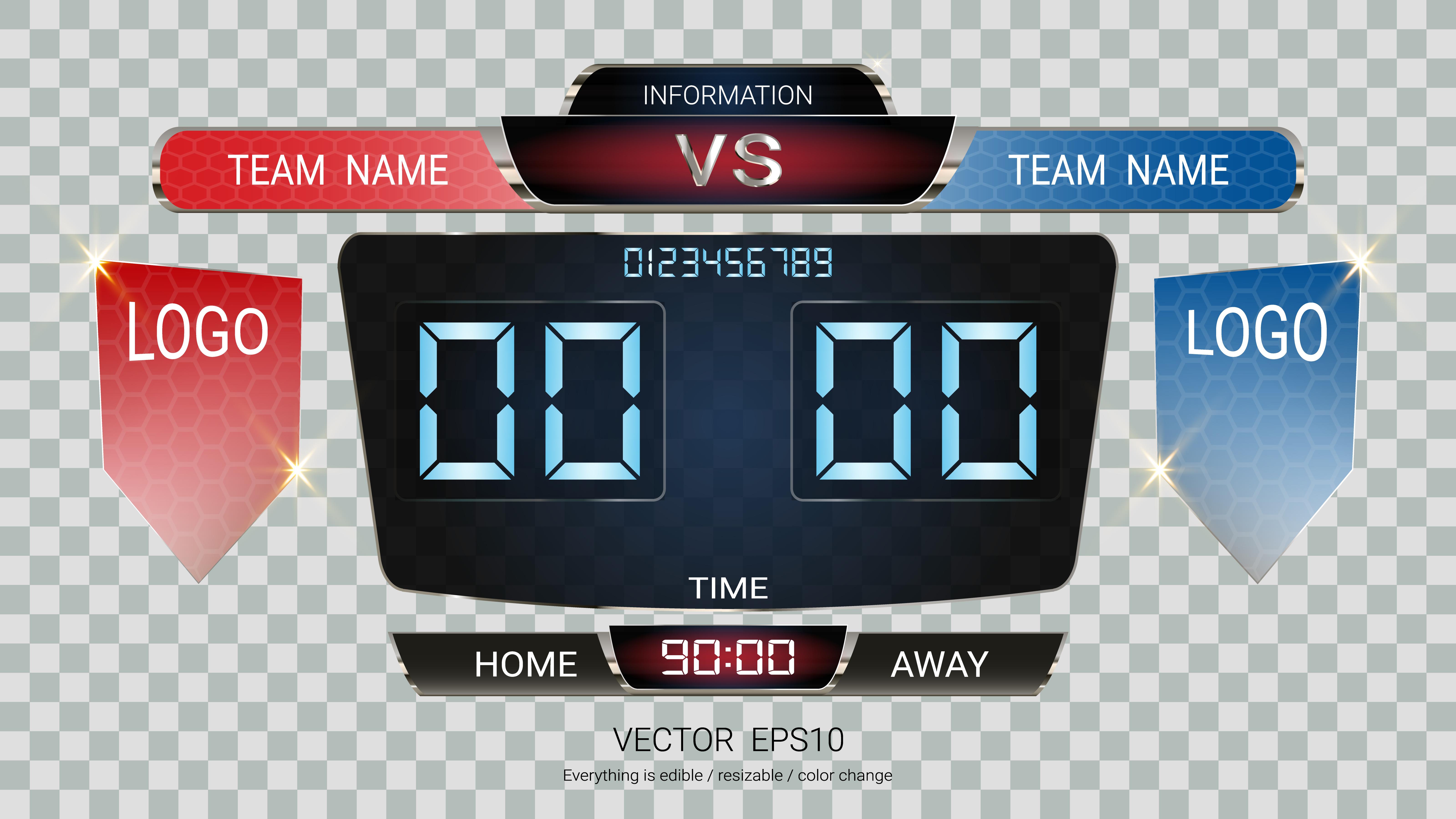 digital timing scoreboard  football match team a vs team b  strategy broadcast graphic template