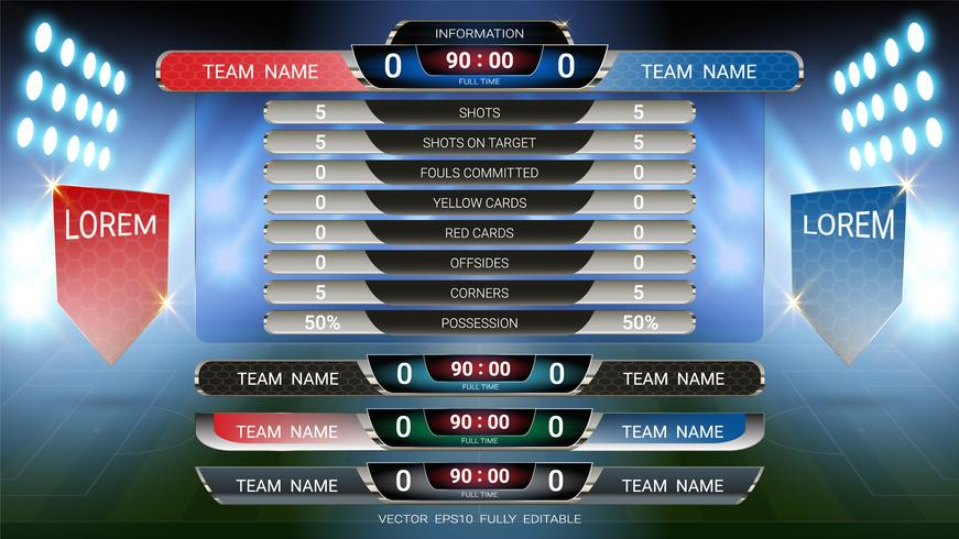 Scoreboard and Lower thirds template, Sport soccer and football match team A vs team B. vector