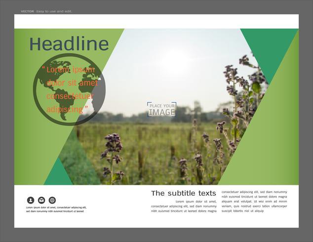 Presentatie lay-outontwerp voor groen voorbladsjabloon.