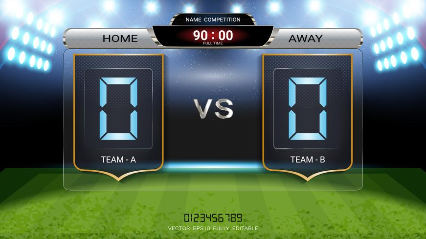 Digital timing scoreboard, Football match team A vs team B. vector