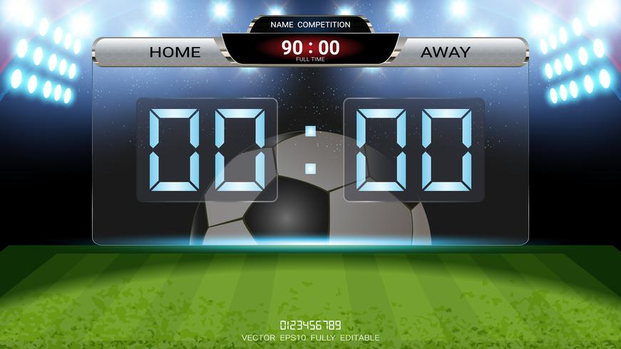 Digital timing scoreboard, Football match team A vs team B, Strategy broadcast graphic template. vector