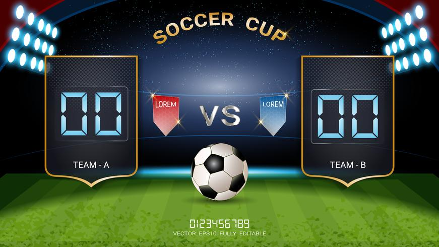 Digital timing resultattavla, Fotbollsmatch lag A vs lag B, Strategi sändning grafisk mall.