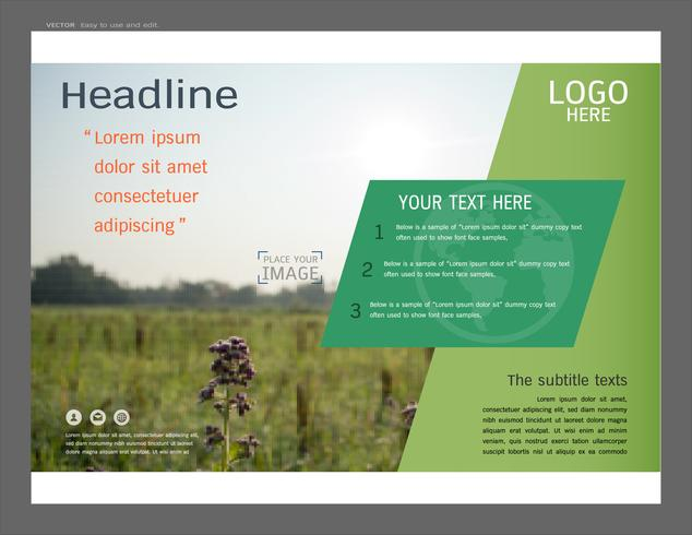 Presentation layout design for greenery cover page template. vector
