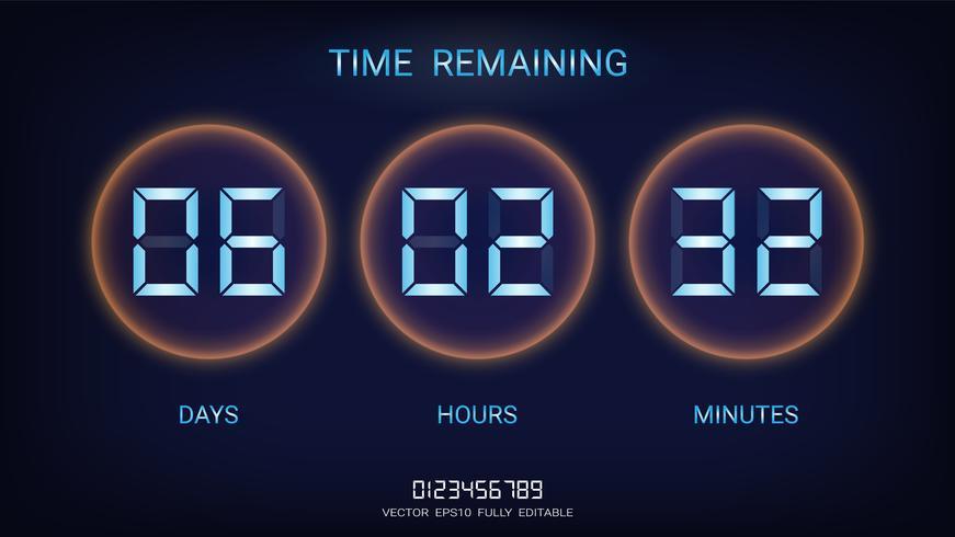 Compte à rebours restant ou Tableau d'affichage du compteur d'horloge avec l'affichage des jours, des heures et des minutes.