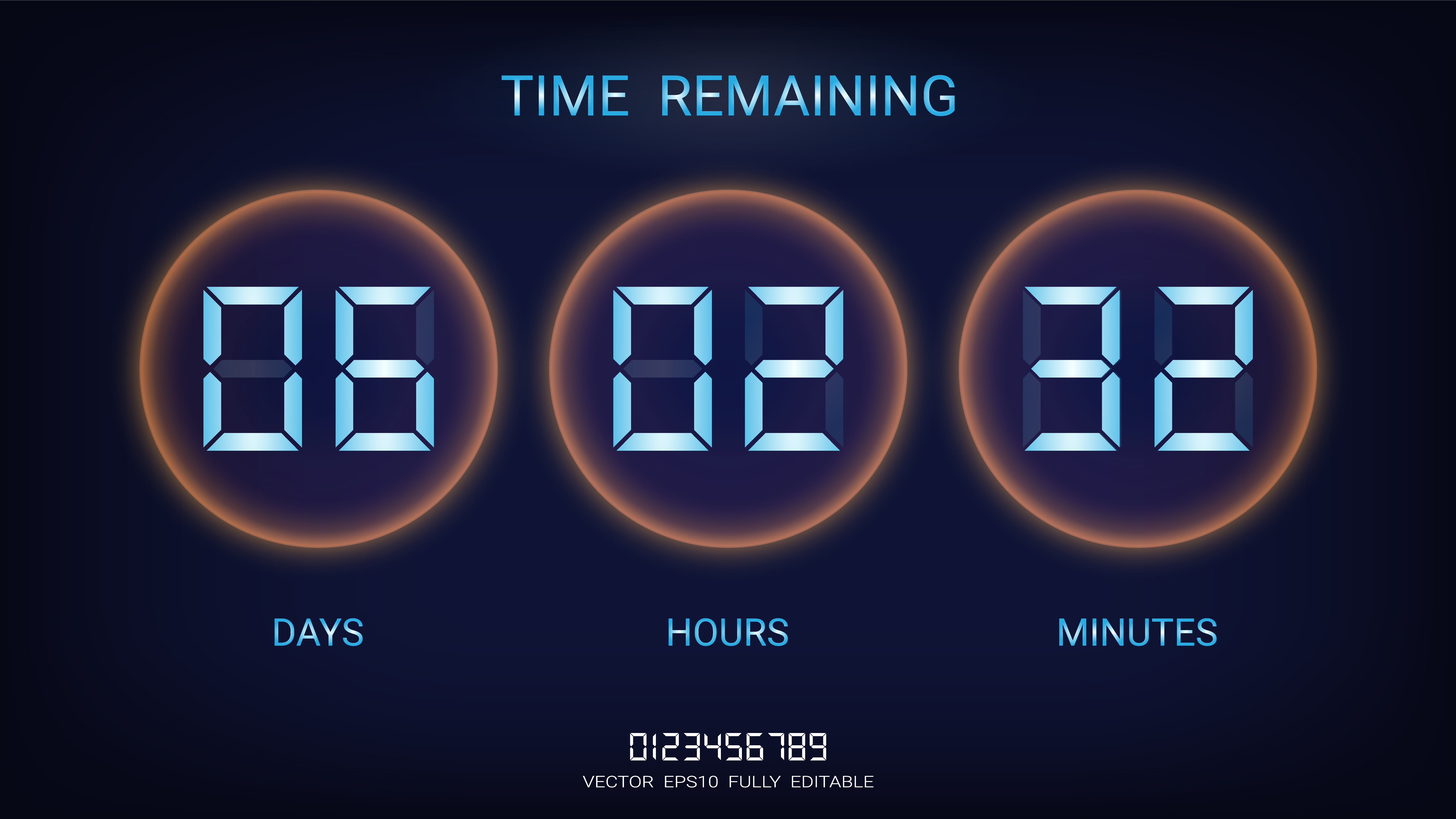 countdown timer remaining or clock counter scoreboard with