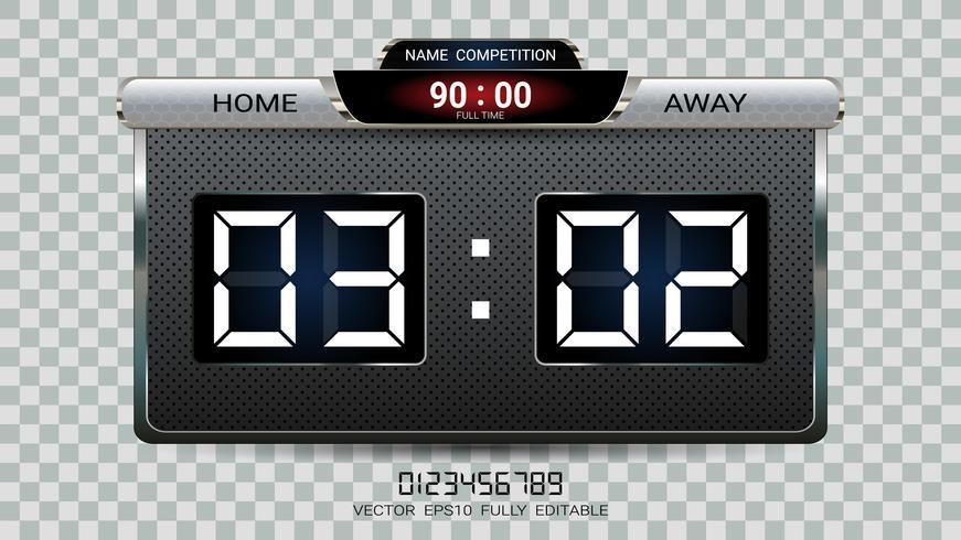 Digital timing scoreboard, Football match team A vs team B, Strategy broadcast graphic template.