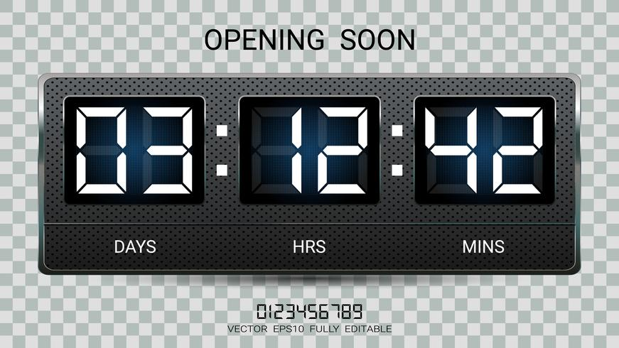 Countdown timer remaining or Clock counter scoreboard with days, hours and minutes display. vector