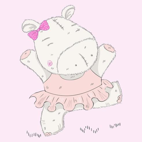 pequeño hipopótamo lindo vector