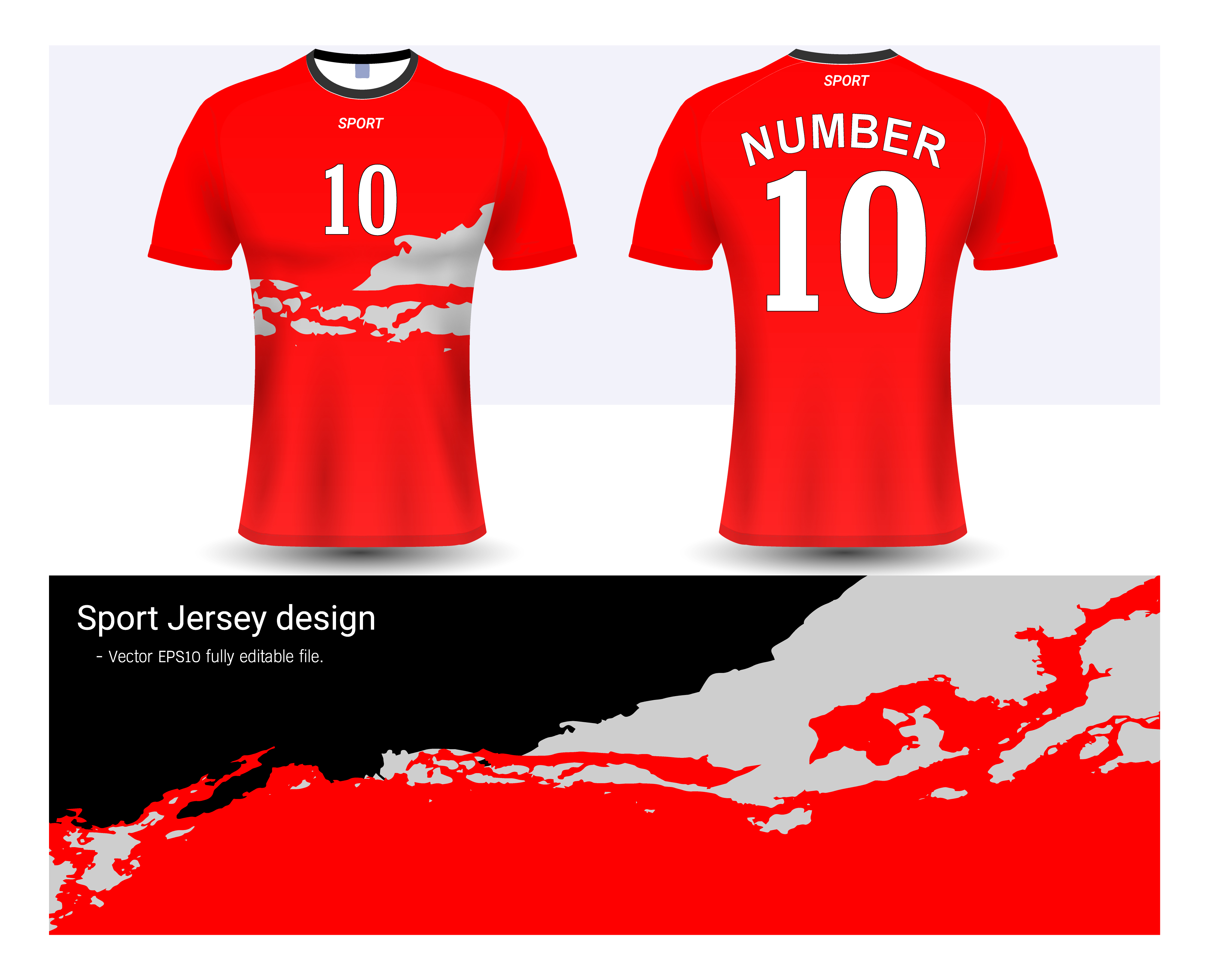 vector soccer jersey and t shirt sport mockup template graphic design for football club or activewear uniforms