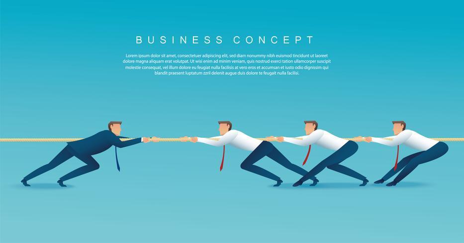 Los empresarios tiran del concepto de negocio de la cuerda. fondo de tira y afloja vector