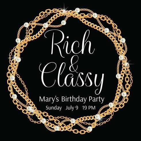 Plantilla de invitación del partido Marco redondo realizado con cadenas de oro trenzadas. Con perlas. En negro Ilustración vectorial vector