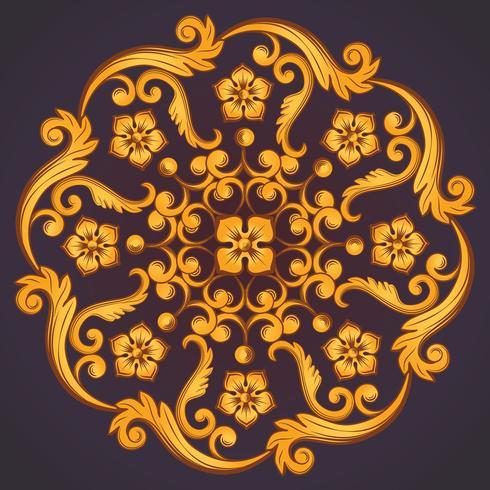 Mooi rond sierelement voor ontwerp in geeloranje kleuren. vector
