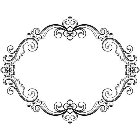 Dekorativer Weinleserahmen. Vektorabbildung in den Schwarzweiss-Farben vektor