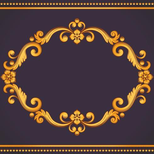 Sier vintage frame. Vectorillustratie in gele en violette kleuren vector
