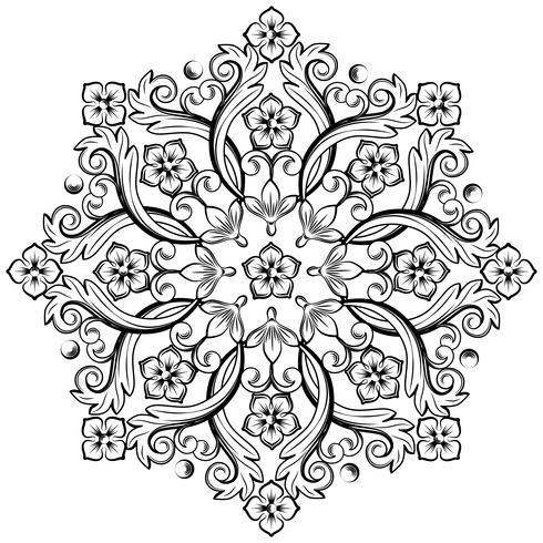 Precioso elemento ornamental redondo para diseño en colores blanco y negro. Ilustración vectorial vector