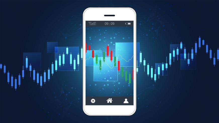 Mobila aktiehandelskoncept med ljusstake och finansiella diagramdiagram på skärmen.