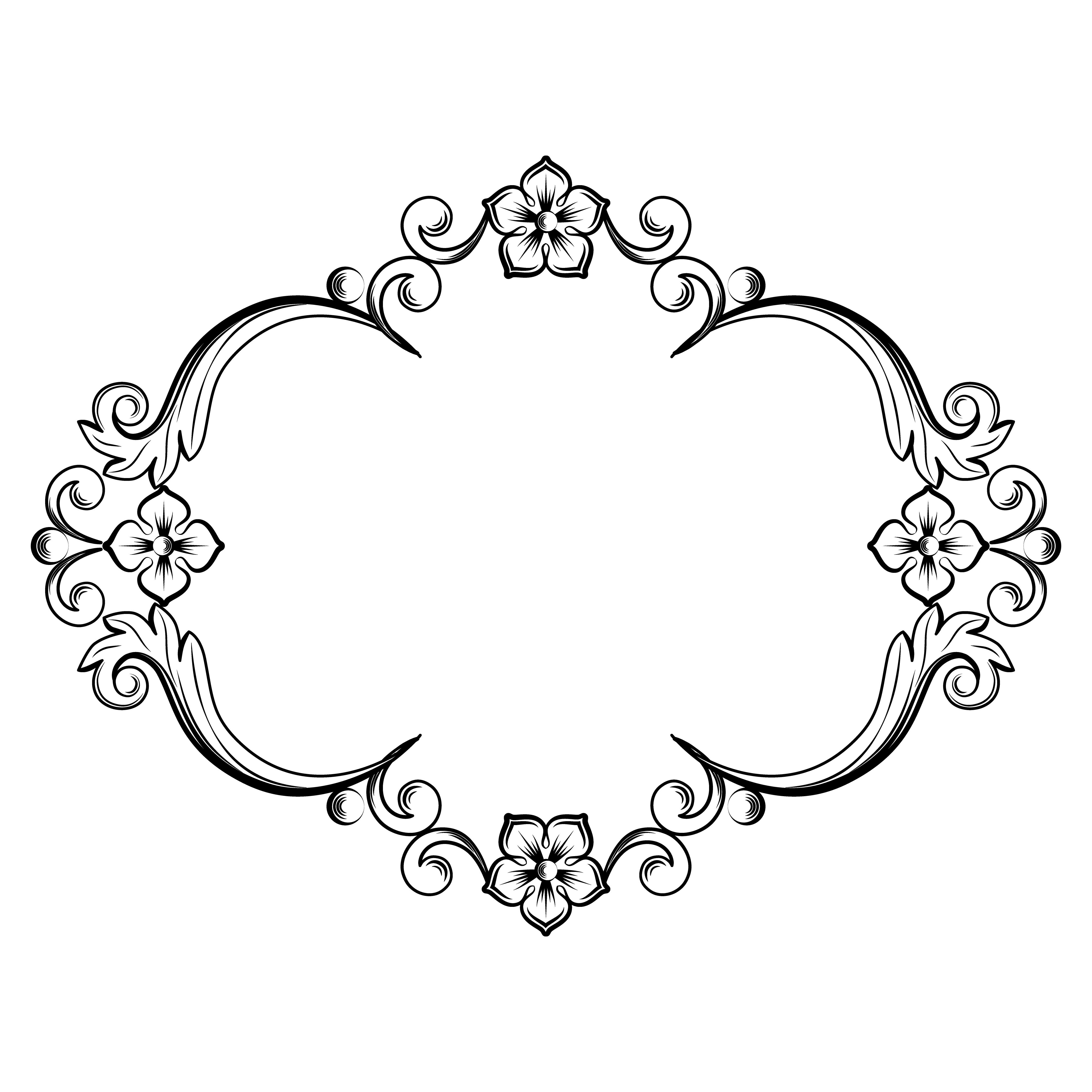 Ornamental vintage frame. Vector illustration in black and ...
