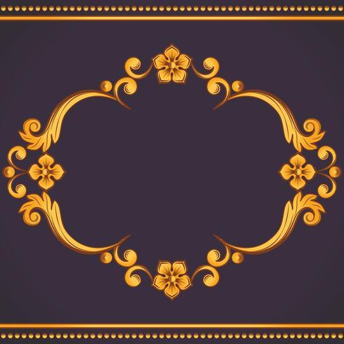 Marco ornamental de la vendimia. Ilustración vectorial en colores amarillo y violeta.