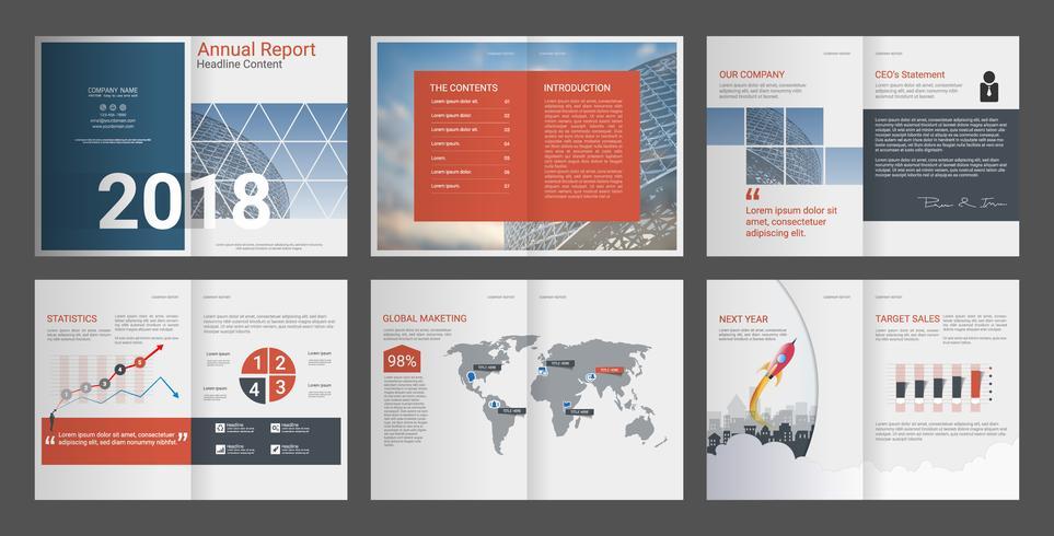 Informe anual para perfil de empresa y folleto de agencia de publicidad. vector