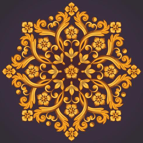 Beautiful round ornamental element for design in yellow orange colors. vector