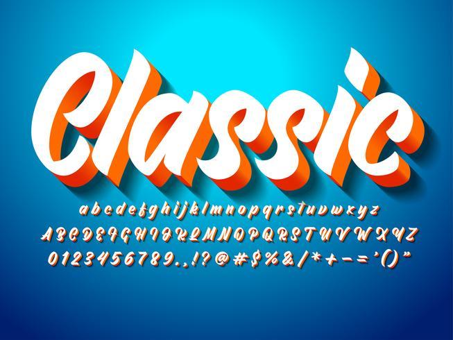 carattere di script grassetto moderno 3d classico
