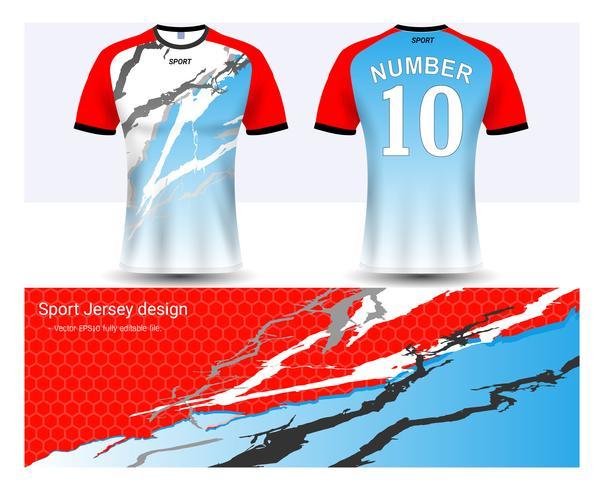 Fußballtrikot- und T-Shirt-Sportmodellschablone, Grafikdesign für Fußballverein oder Activewearuniformen.
