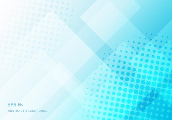 Abstract technology squares overlapping with halftone blue background