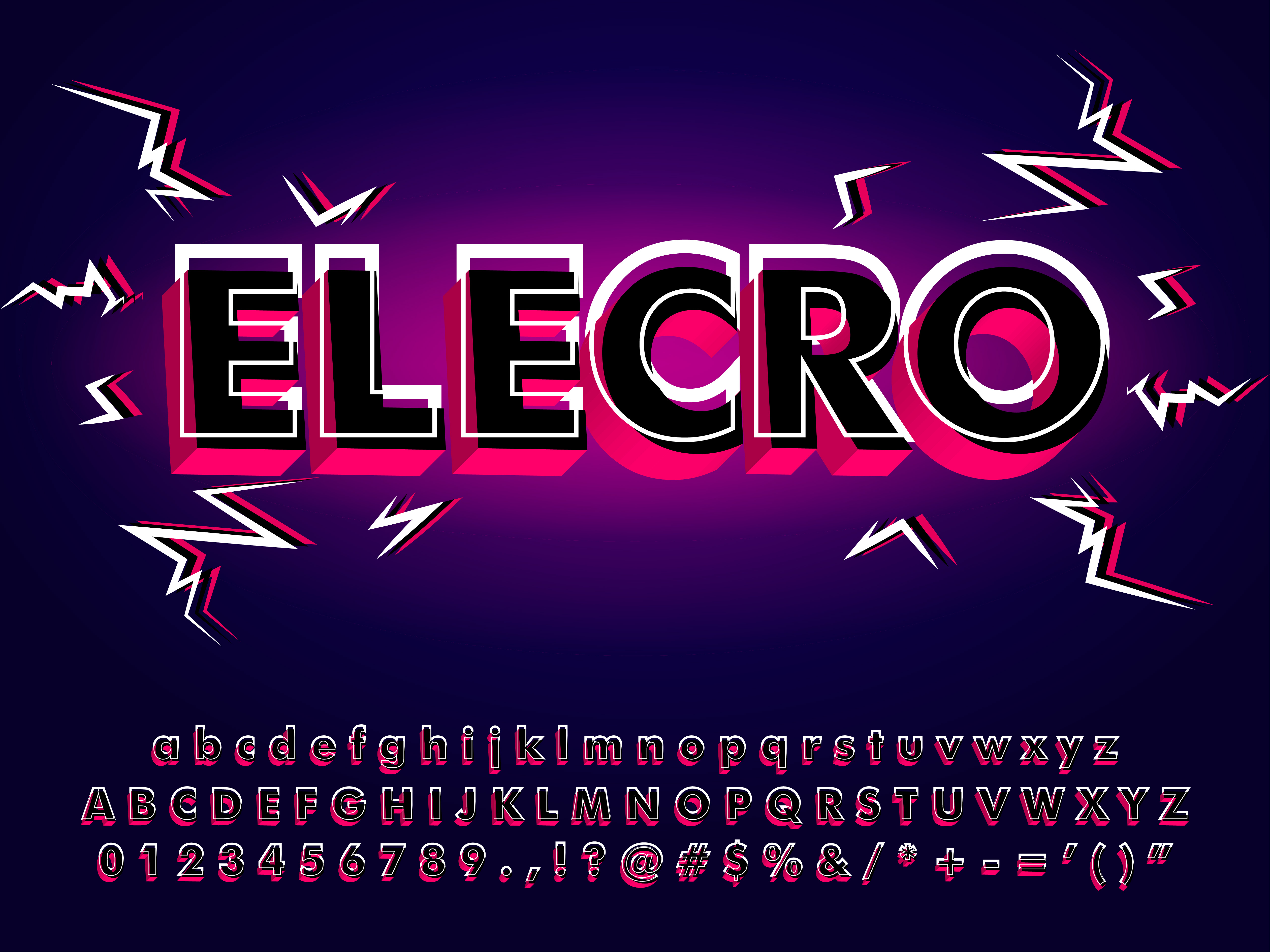 Electronic Typeface With 3d Glitch Effect - Download Free Vectors, Clipart Graphics & Vector Art