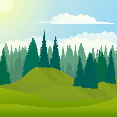 Vector verano y primavera paisaje con bosque