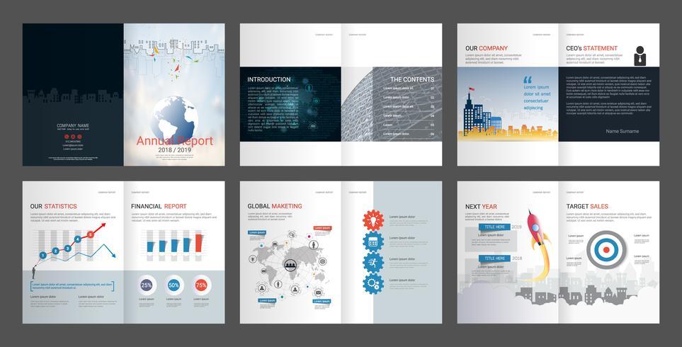 Informe anual para perfil de empresa y folleto de agencia de publicidad.
