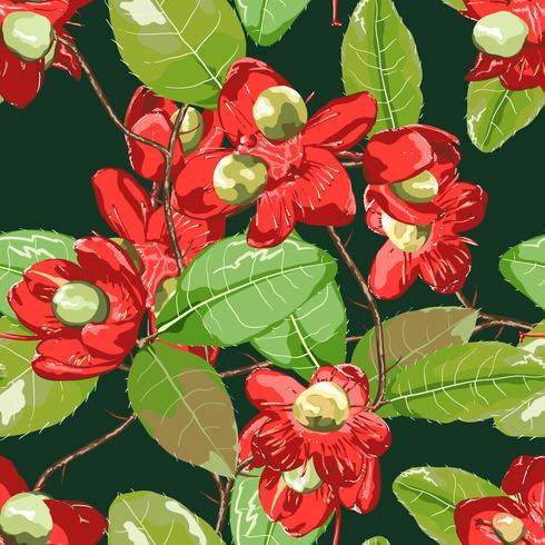 Florales Element auf dunkelgrünem nahtlosem Hintergrund.