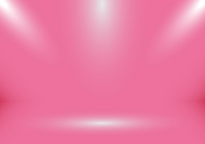 3D empty studio room show booth for designers with spotlight on pink gradient background for valentines day. vector