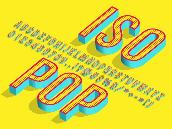 3d Isometric Pop Art Font vector