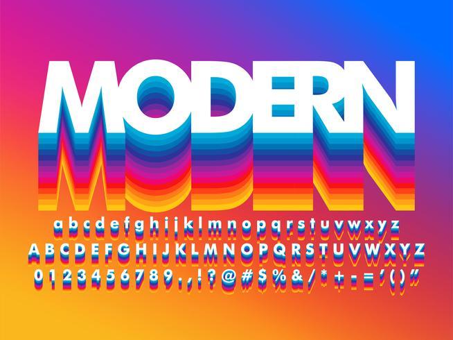 Alphabet arc-en-ciel moderne riche couleur vibrante