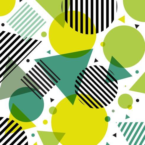 Modelo moderno de los círculos y de los triángulos de la moda de la naturaleza verde abstracta con las líneas negras diagonalmente en el fondo blanco. vector