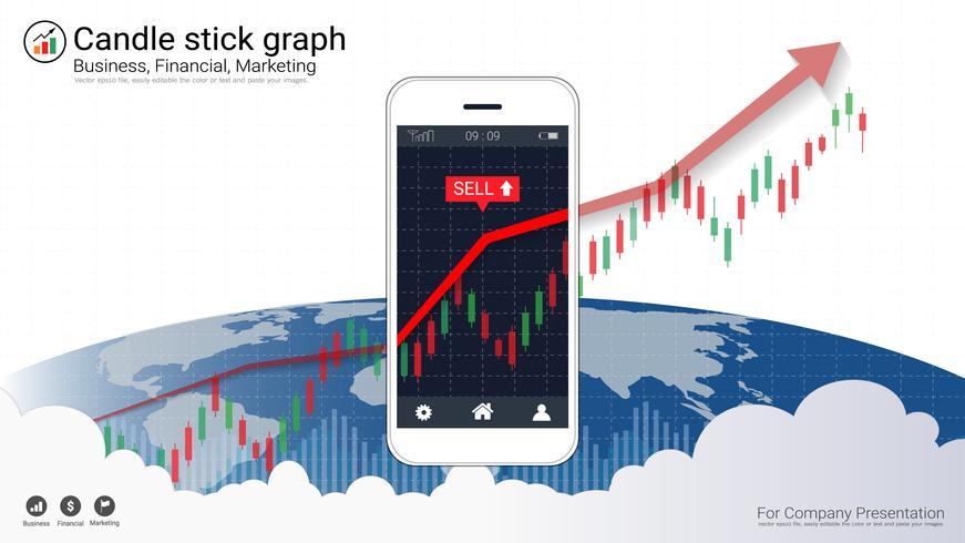 Concepto de compraventa de acciones móviles con gráficos de velas y gráficos financieros en pantalla.