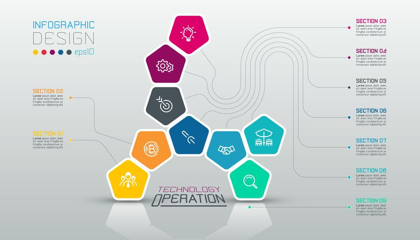 I pentagoni etichettano infographic su arte di vettore.