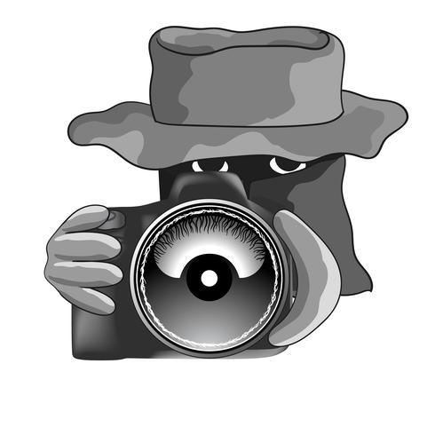Homme détective avec objectif macro