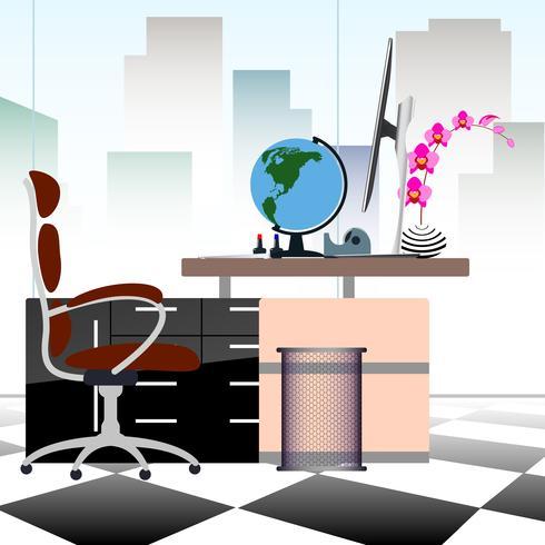 O conceito do negócio um desktop no estilo liso do escritório com construções do vestíbulo em janelas de vidro transparentes e pode ver completamente para fora à arquitetura da cidade.