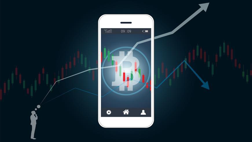 Concepto de compraventa de acciones móviles con gráficos de bitcoins y velas japonesas en pantalla.