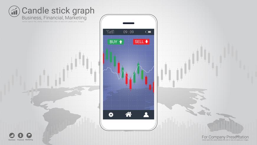 Bewegliches Aktienhandelkonzept mit Kerzenhalter und Finanzdiagrammdiagrammen auf Schirm.