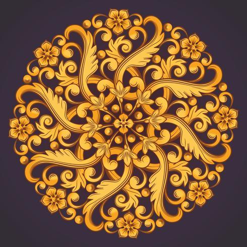 Bellissimo elemento ornamentale rotondo per il design nei colori giallo arancio.