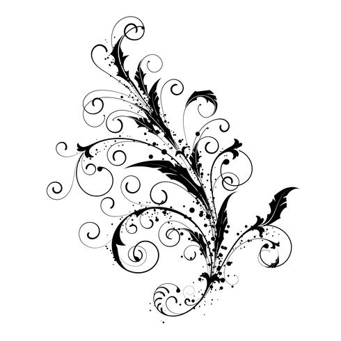 Flowers ornamental beautiful and swirls design element silhouette in black.