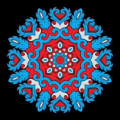 Bright round ornamental element for design in red and blue colors. vector