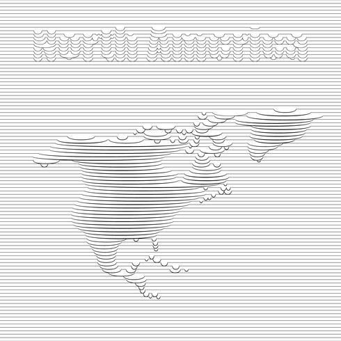 Abstract line of North America map on vector graphic art.