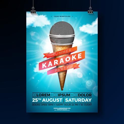 Projeto do inseto do partido do karaoke do verão com microfone e fita no fundo azul do céu nebuloso. Modelo de design de verão vetor