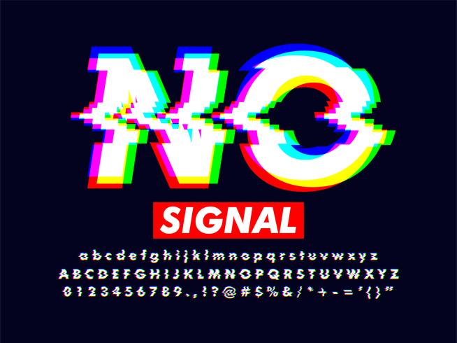 Effetto Font distorto con colori RGB vettore