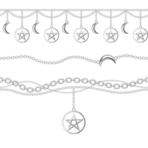 Stel verzameling zilveren metalen kettingranden in met pentagram en maanhanger. Op wit. Vector illustratie